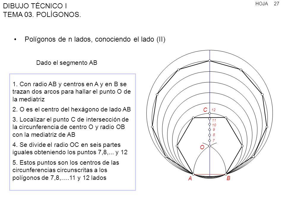Polígonos de n lados, conociendo el lado (II)