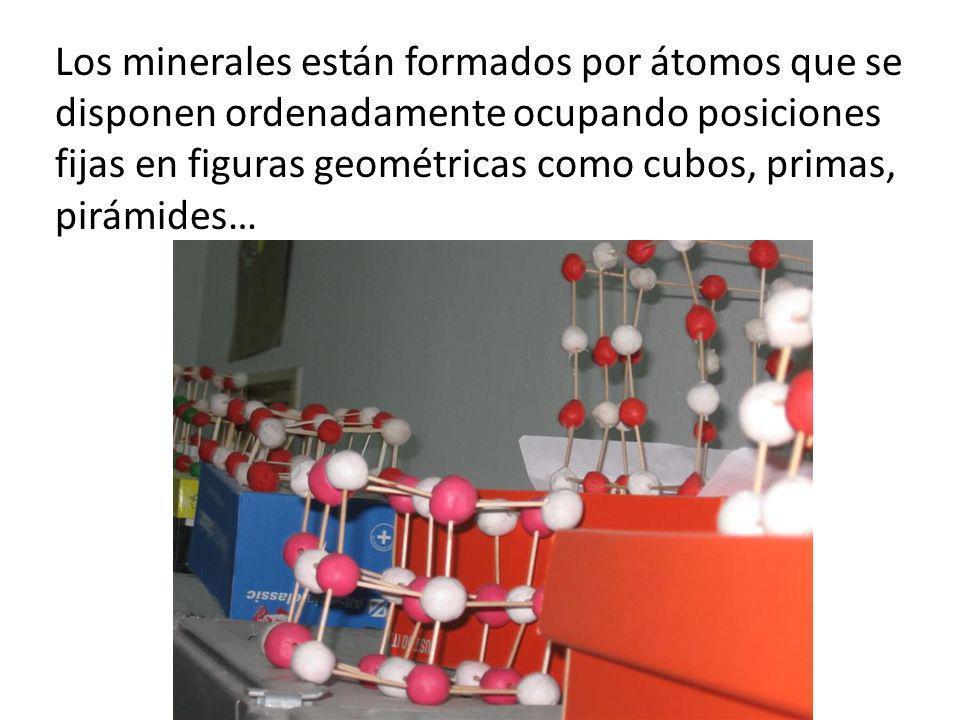 Los minerales están formados por átomos que se disponen ordenadamente ocupando posiciones fijas en figuras geométricas como cubos, primas, pirámides…