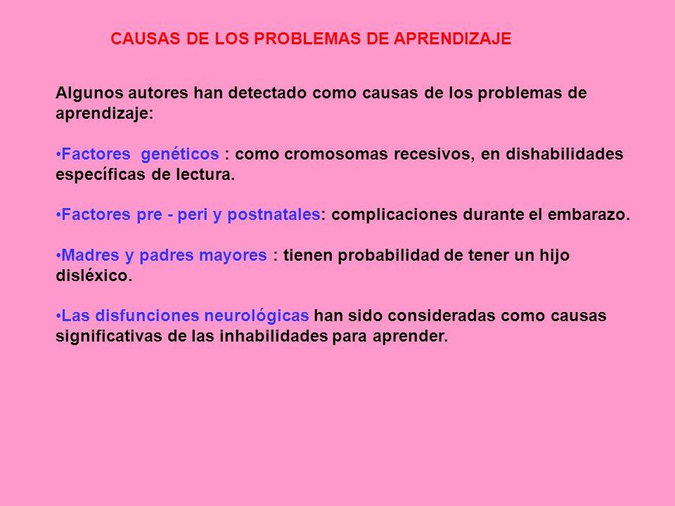 CAUSAS DE LOS PROBLEMAS DE APRENDIZAJE