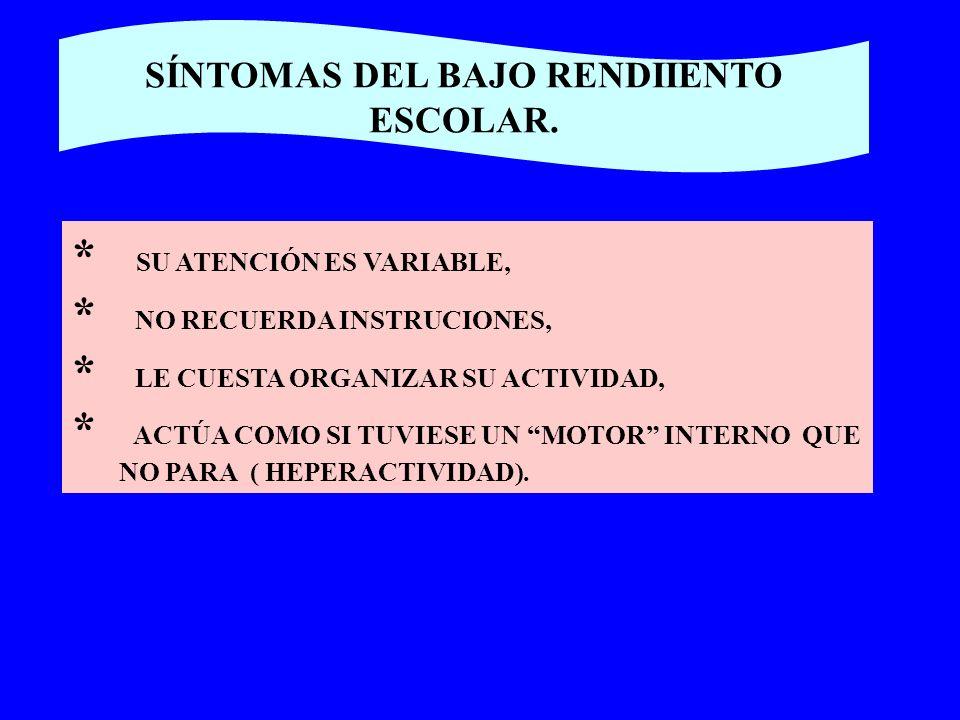 SÍNTOMAS DEL BAJO RENDIIENTO