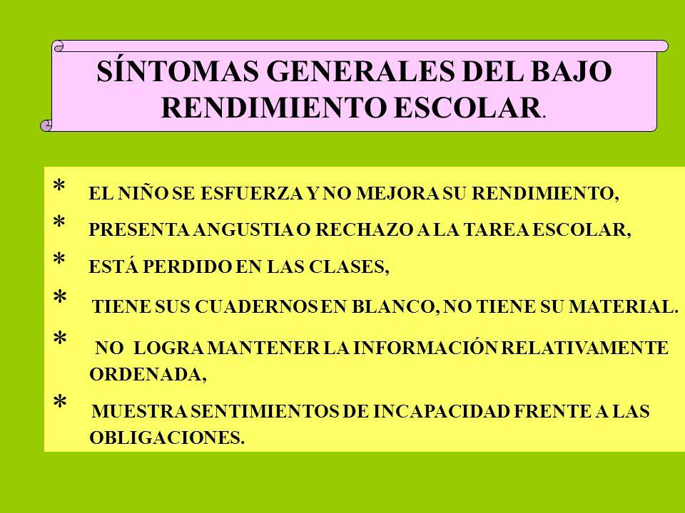 SÍNTOMAS GENERALES DEL BAJO