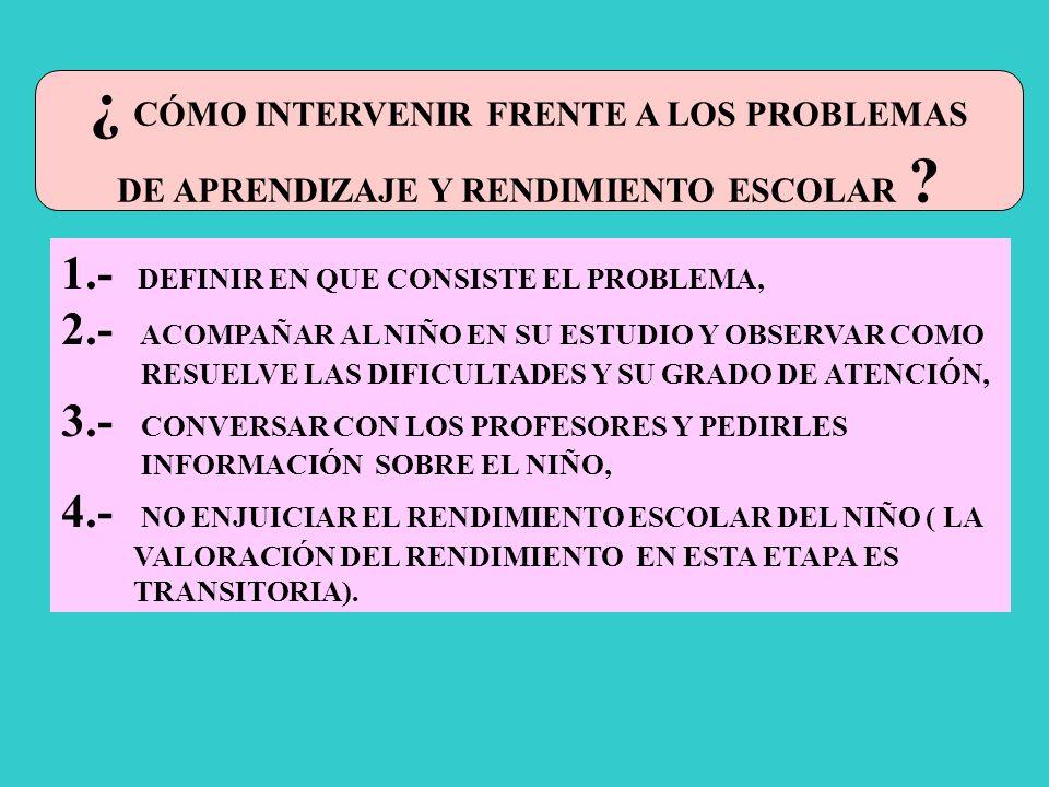 DE APRENDIZAJE Y RENDIMIENTO ESCOLAR
