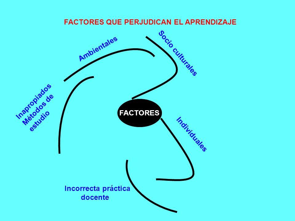 FACTORES QUE PERJUDICAN EL APRENDIZAJE