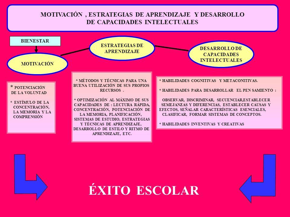 ÉXITO ESCOLAR MOTIVACIÓN , ESTRATEGIAS DE APRENDIZAJE Y DESARROLLO