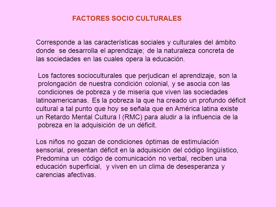 FACTORES SOCIO CULTURALES