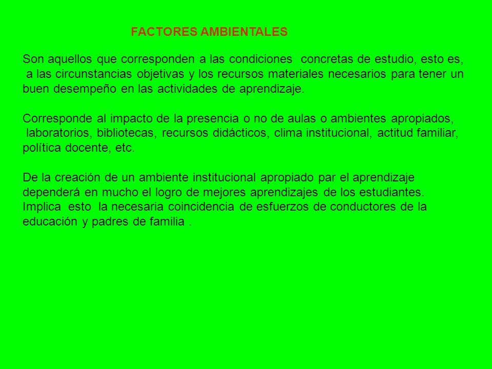 FACTORES AMBIENTALES Son aquellos que corresponden a las condiciones concretas de estudio, esto es,
