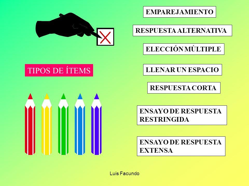 TIPOS DE ÍTEMS EMPAREJAMIENTO RESPUESTA ALTERNATIVA ELECCIÓN MÚLTIPLE