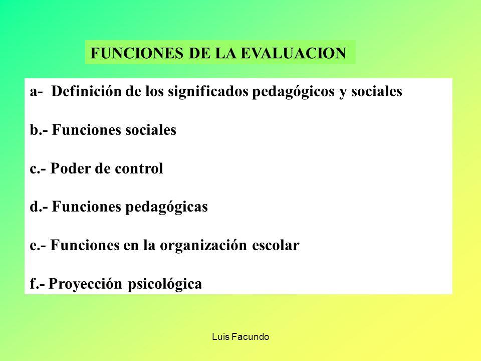 FUNCIONES DE LA EVALUACION