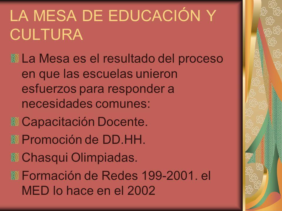 LA MESA DE EDUCACIÓN Y CULTURA