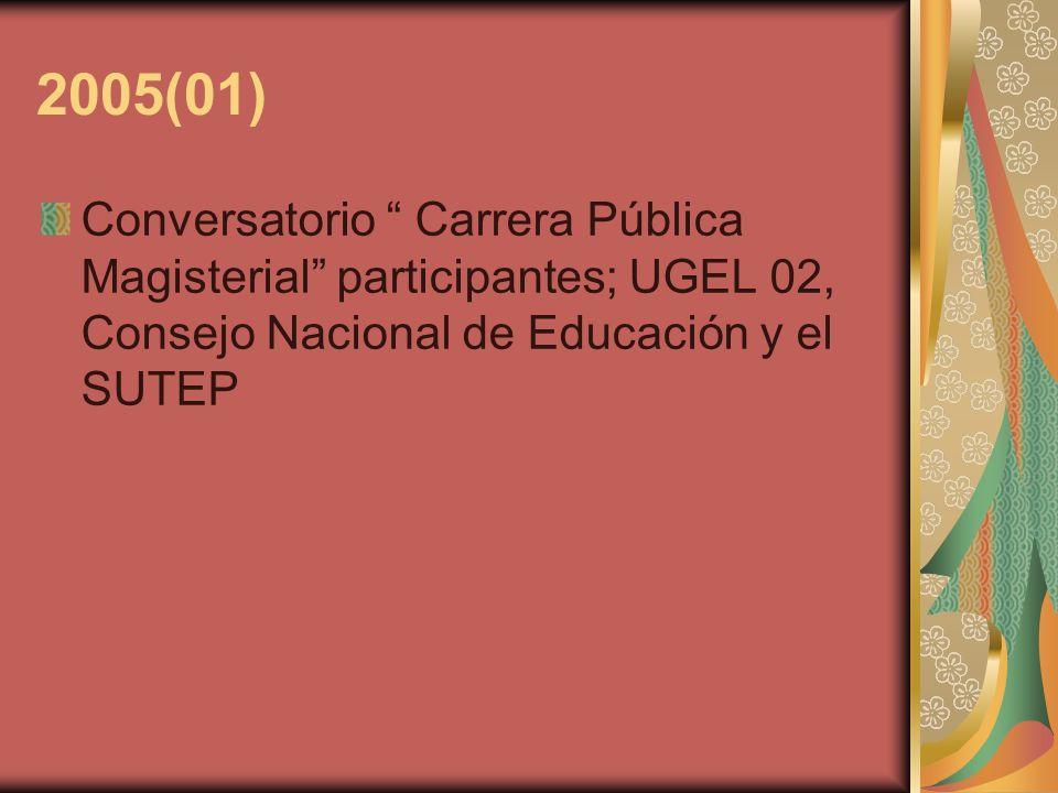 2005(01) Conversatorio Carrera Pública Magisterial participantes; UGEL 02, Consejo Nacional de Educación y el SUTEP.
