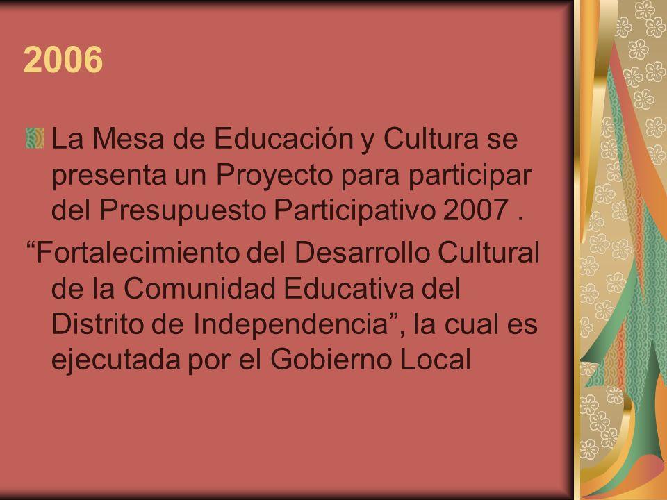 2006 La Mesa de Educación y Cultura se presenta un Proyecto para participar del Presupuesto Participativo 2007 .