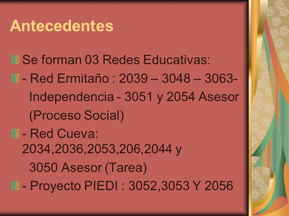 Antecedentes Se forman 03 Redes Educativas: