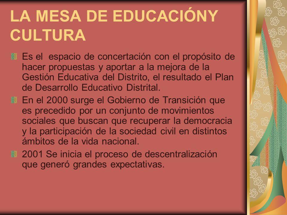 LA MESA DE EDUCACIÓNY CULTURA