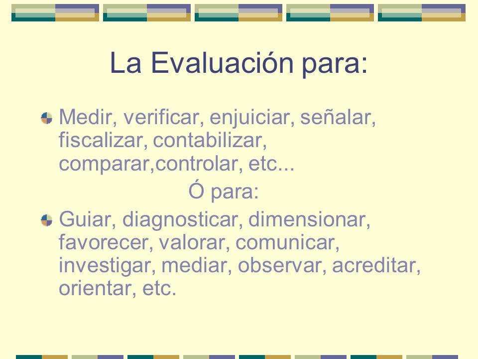 La Evaluación para: Medir, verificar, enjuiciar, señalar, fiscalizar, contabilizar, comparar,controlar, etc...