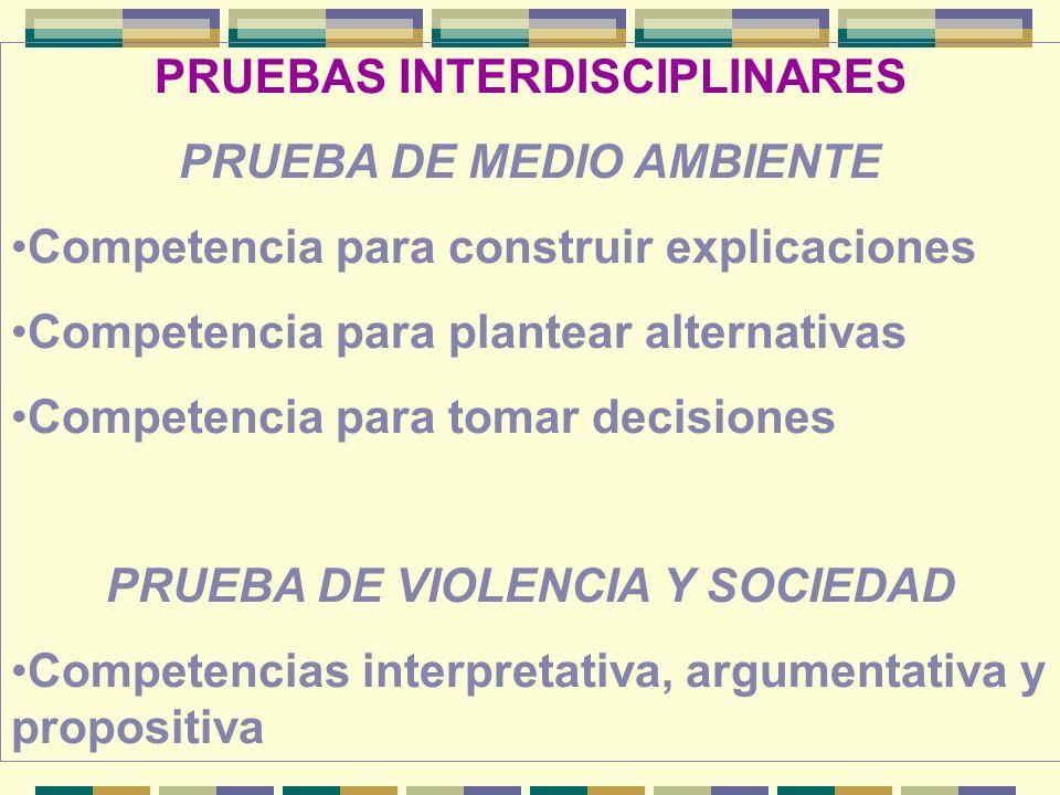 PRUEBAS INTERDISCIPLINARES PRUEBA DE MEDIO AMBIENTE