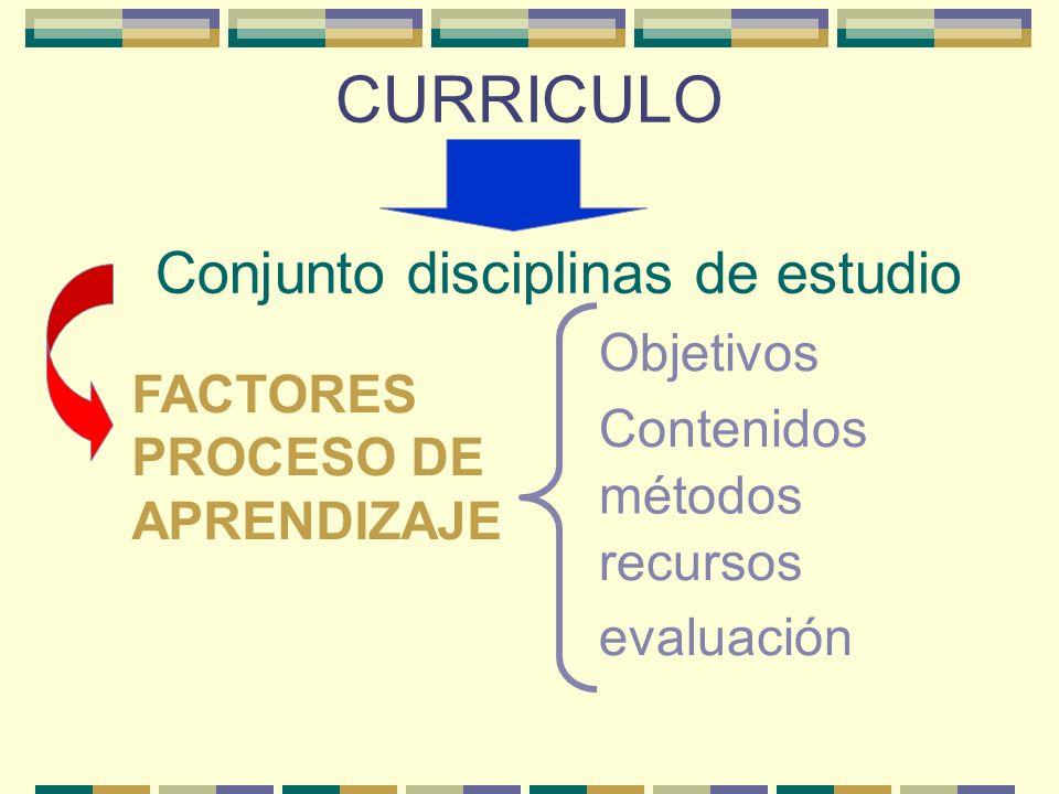Conjunto disciplinas de estudio