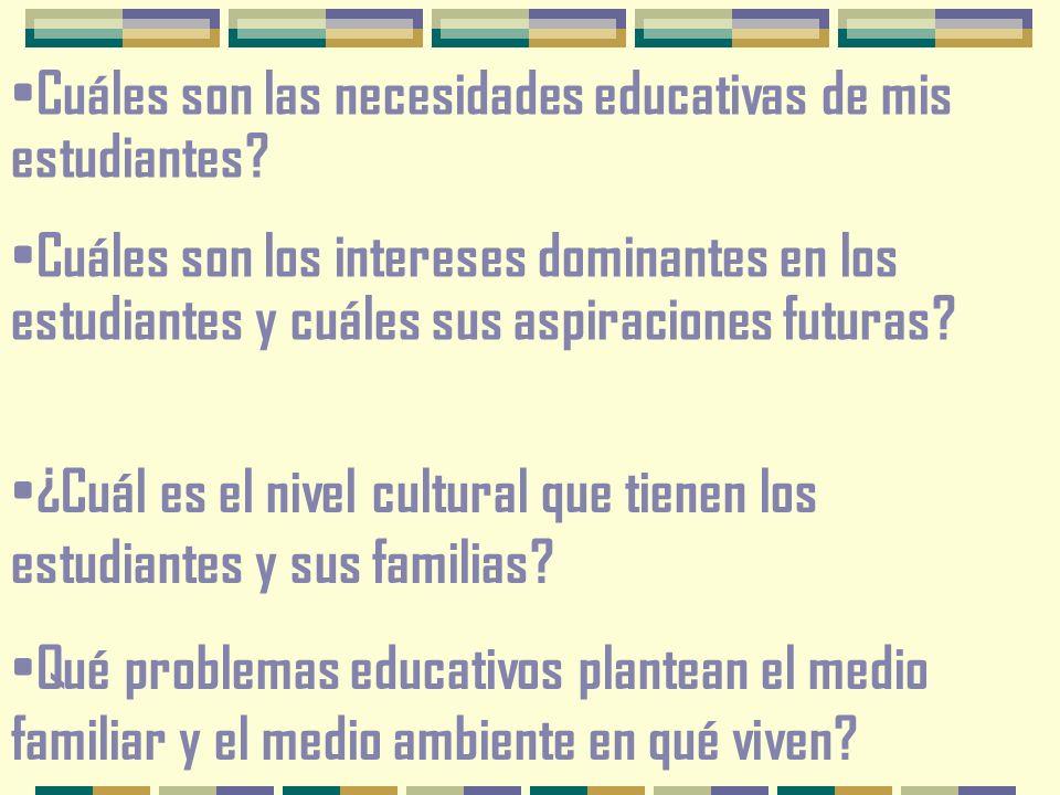 Cuáles son las necesidades educativas de mis estudiantes