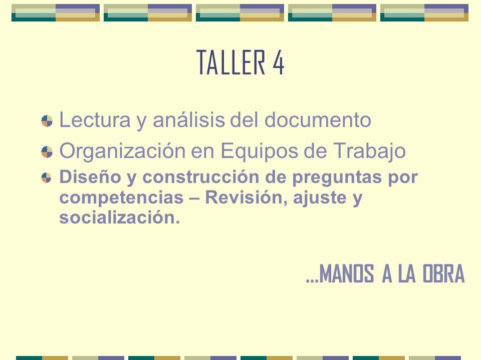 TALLER 4 ...MANOS A LA OBRA Lectura y análisis del documento