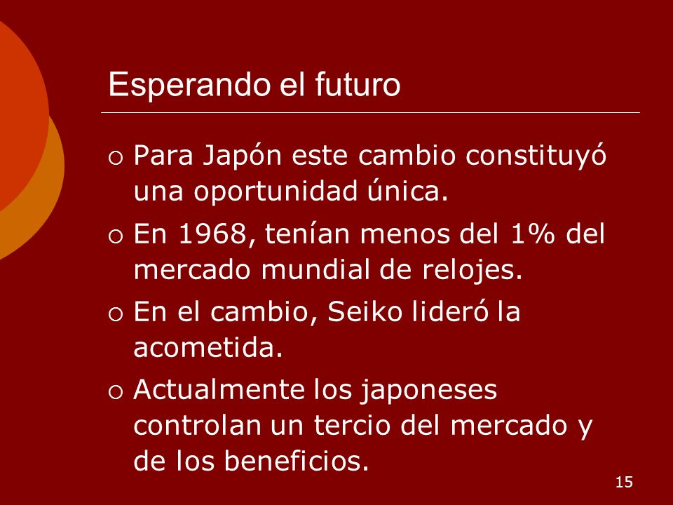 Esperando el futuro Para Japón este cambio constituyó una oportunidad única. En 1968, tenían menos del 1% del mercado mundial de relojes.