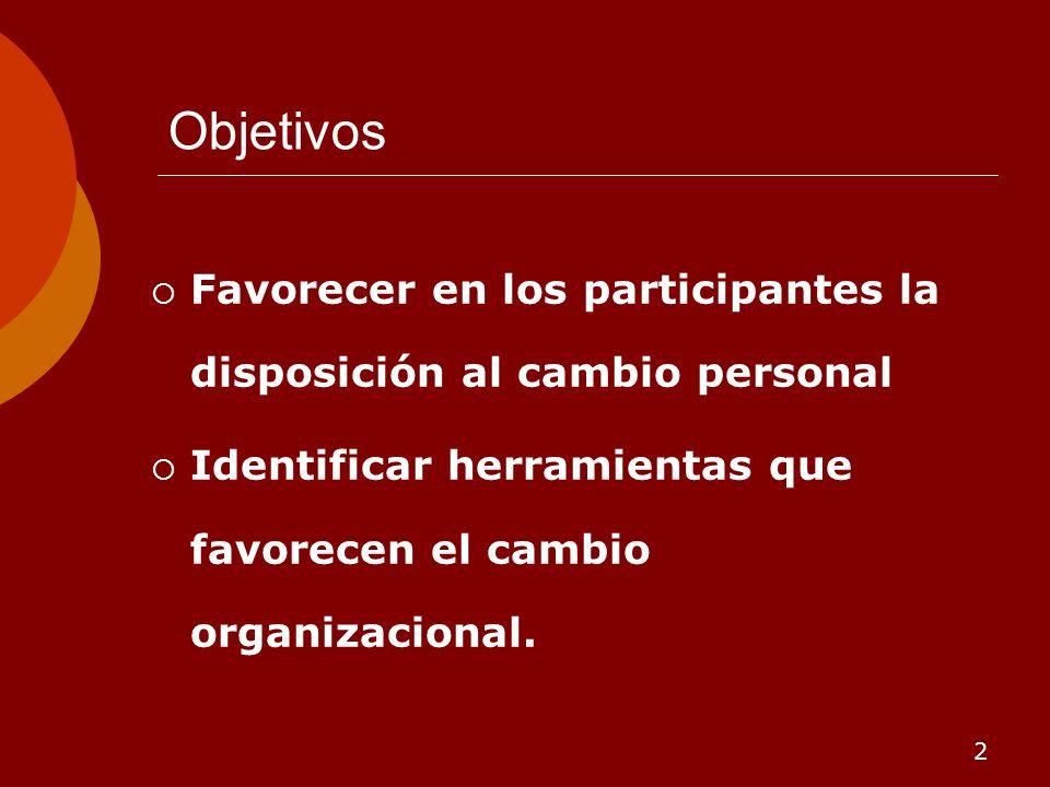 Objetivos Favorecer en los participantes la disposición al cambio personal.