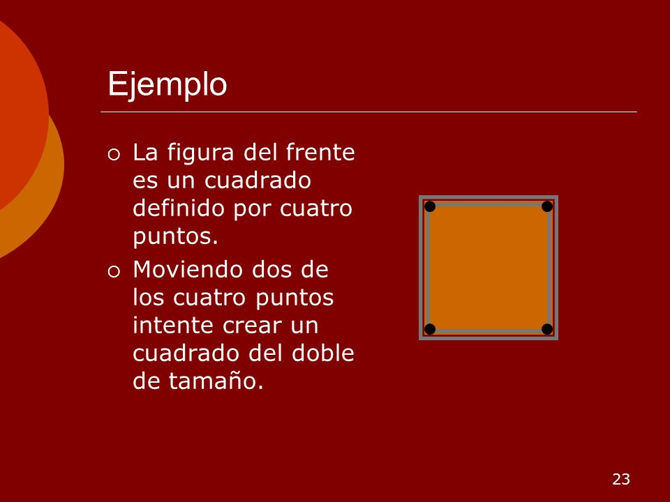 Ejemplo La figura del frente es un cuadrado definido por cuatro puntos.