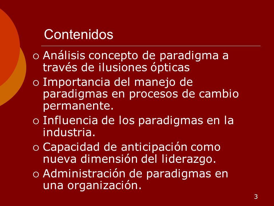 Contenidos Análisis concepto de paradigma a través de ilusiones ópticas. Importancia del manejo de paradigmas en procesos de cambio permanente.