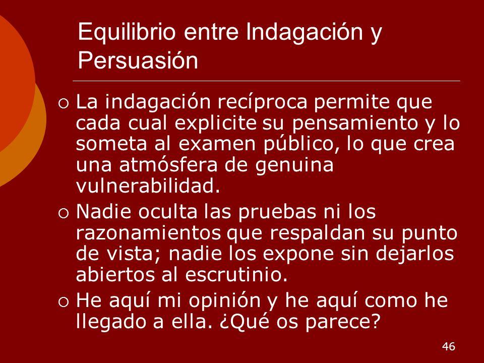 Equilibrio entre Indagación y Persuasión