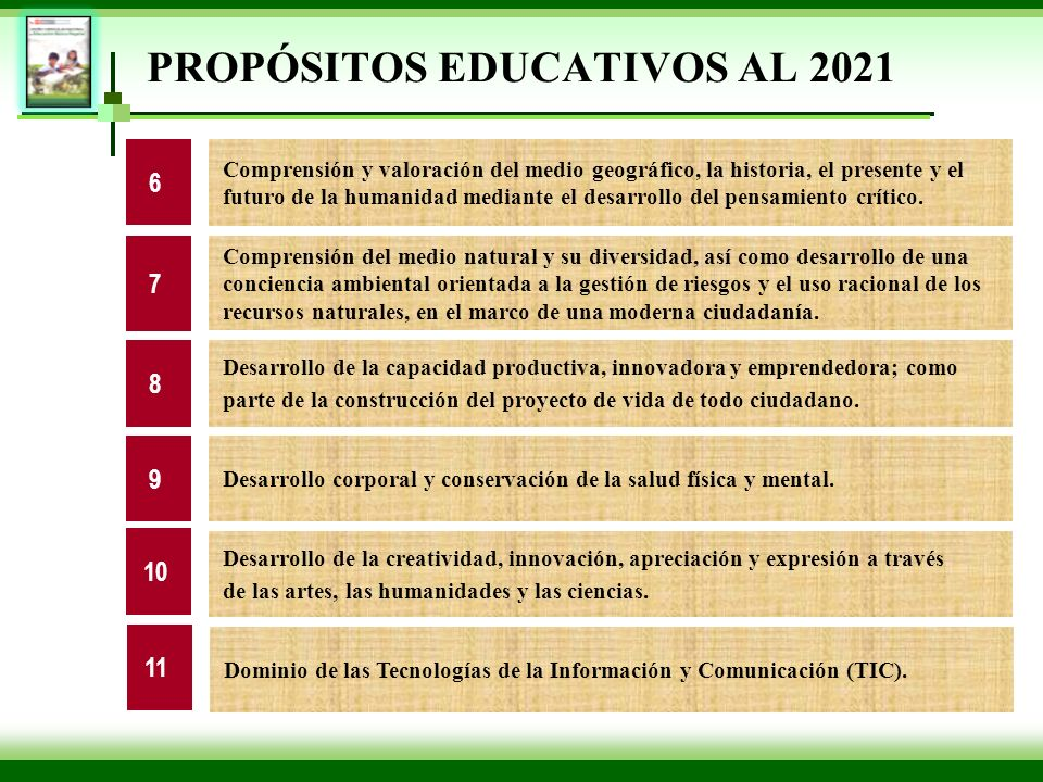 PROPÓSITOS EDUCATIVOS AL 2021