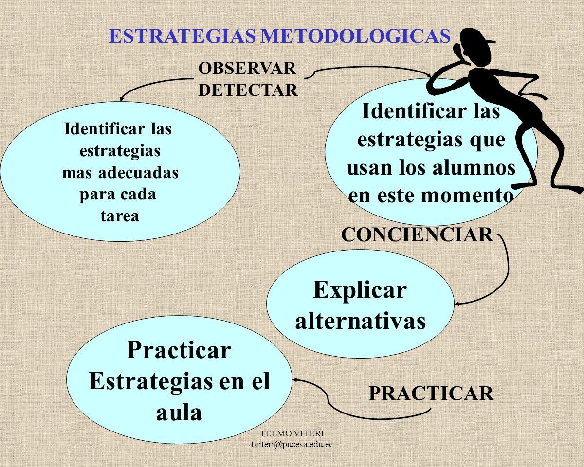 Explicar alternativas Practicar Estrategias en el aula