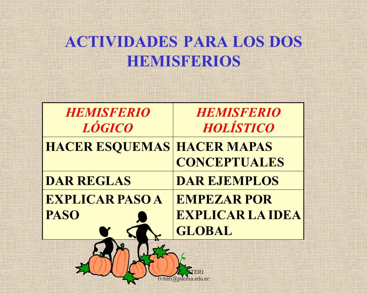 ACTIVIDADES PARA LOS DOS HEMISFERIOS