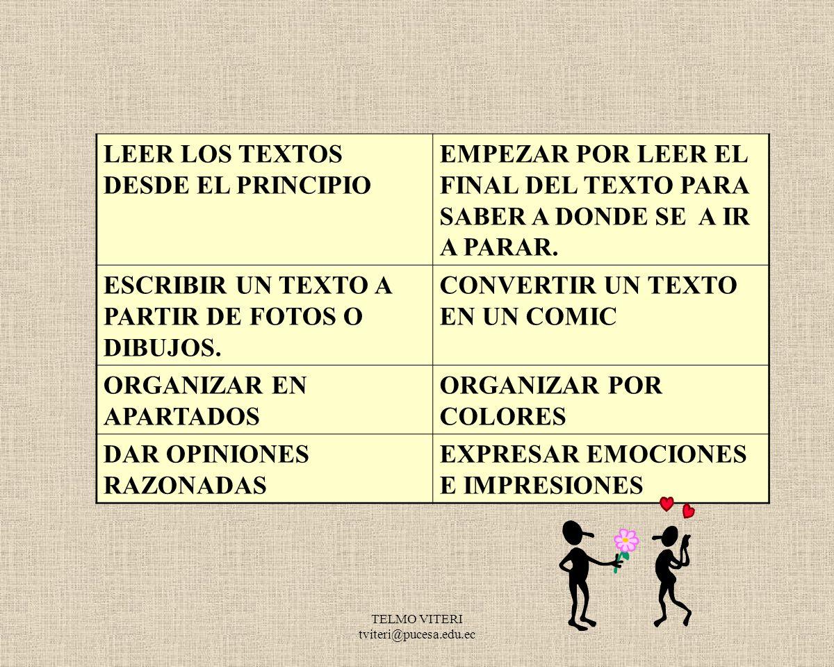 LEER LOS TEXTOS DESDE EL PRINCIPIO