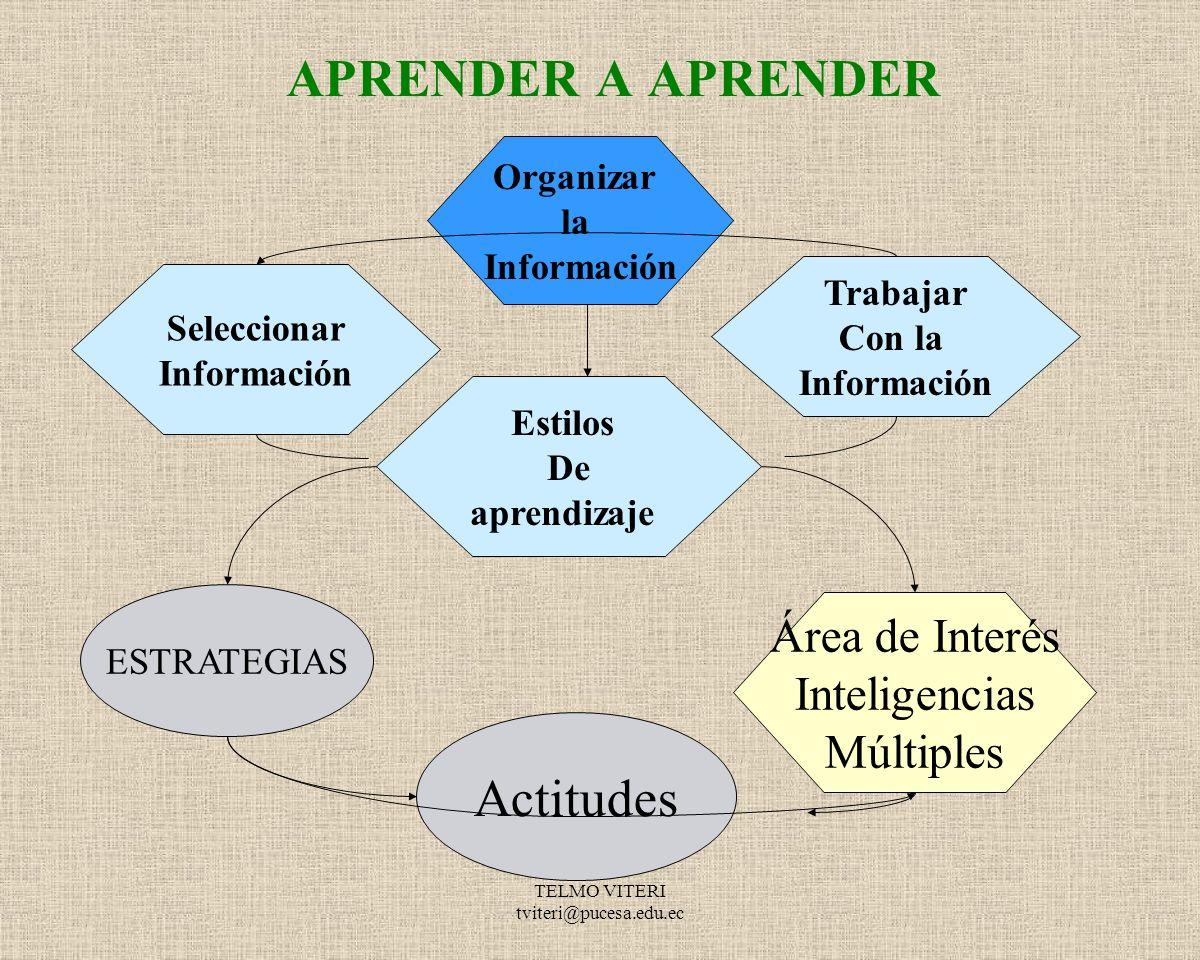 APRENDER A APRENDER Actitudes Área de Interés Inteligencias Múltiples