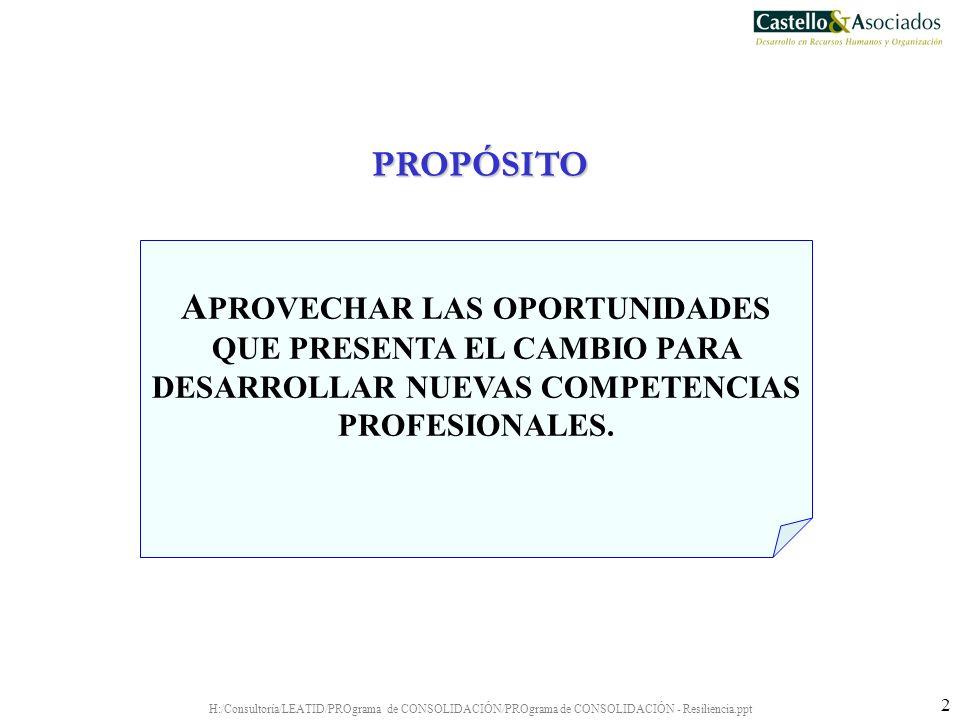 PROPÓSITO APROVECHAR LAS OPORTUNIDADES QUE PRESENTA EL CAMBIO PARA DESARROLLAR NUEVAS COMPETENCIAS PROFESIONALES.
