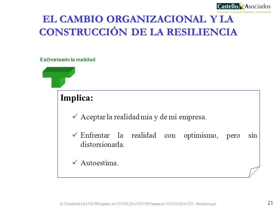 EL CAMBIO ORGANIZACIONAL Y LA CONSTRUCCIÓN DE LA RESILIENCIA