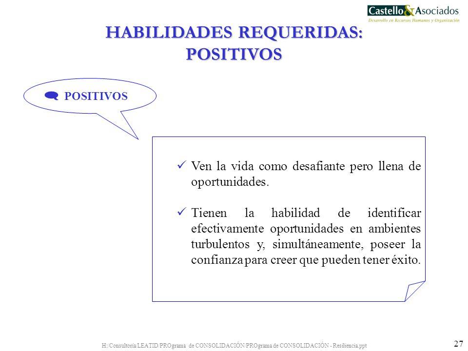 HABILIDADES REQUERIDAS: POSITIVOS