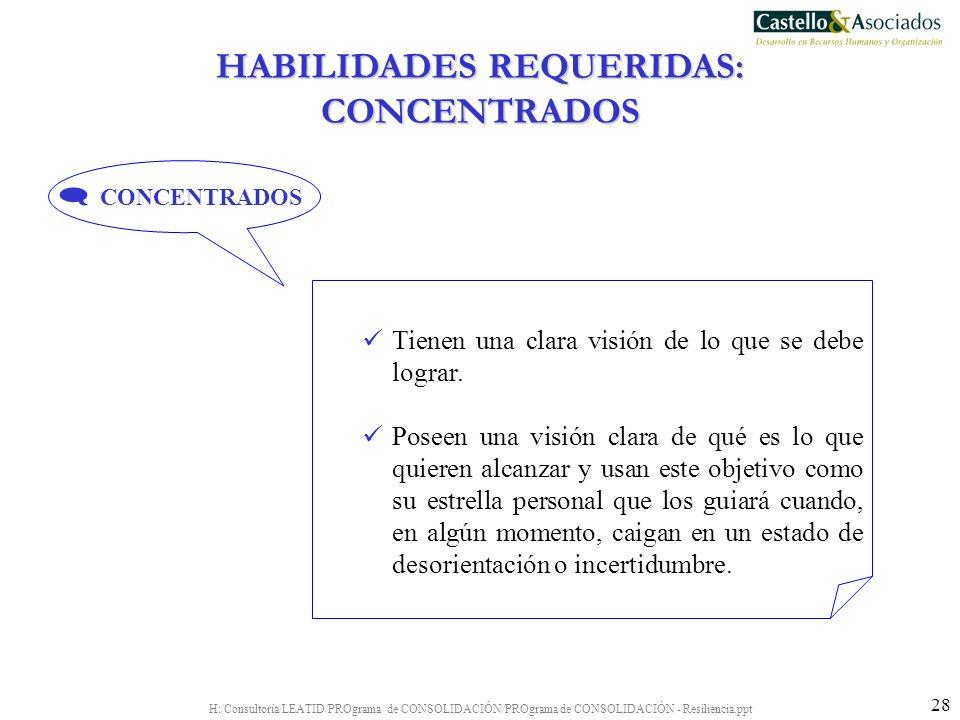 HABILIDADES REQUERIDAS: CONCENTRADOS