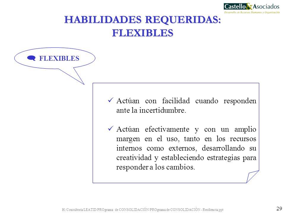 HABILIDADES REQUERIDAS: FLEXIBLES