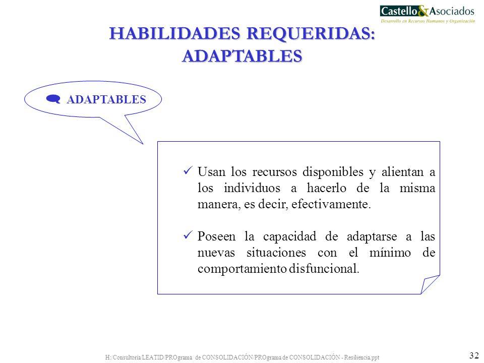 HABILIDADES REQUERIDAS: ADAPTABLES