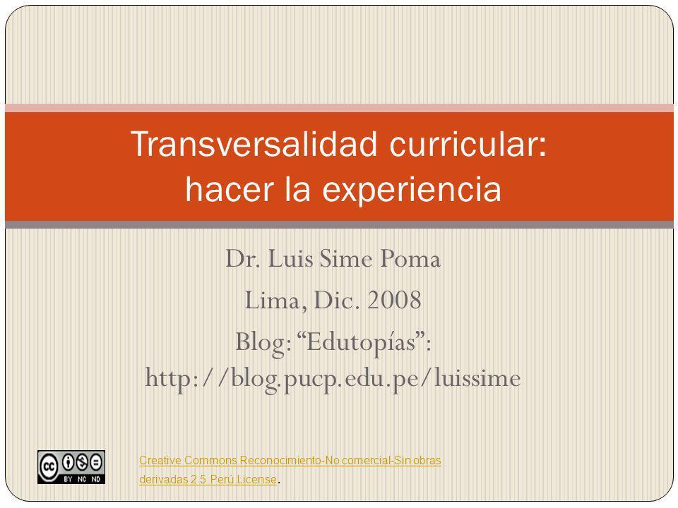 Transversalidad curricular: hacer la experiencia