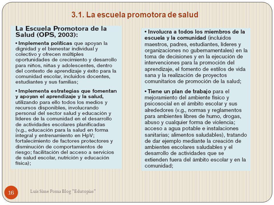 3.1. La escuela promotora de salud