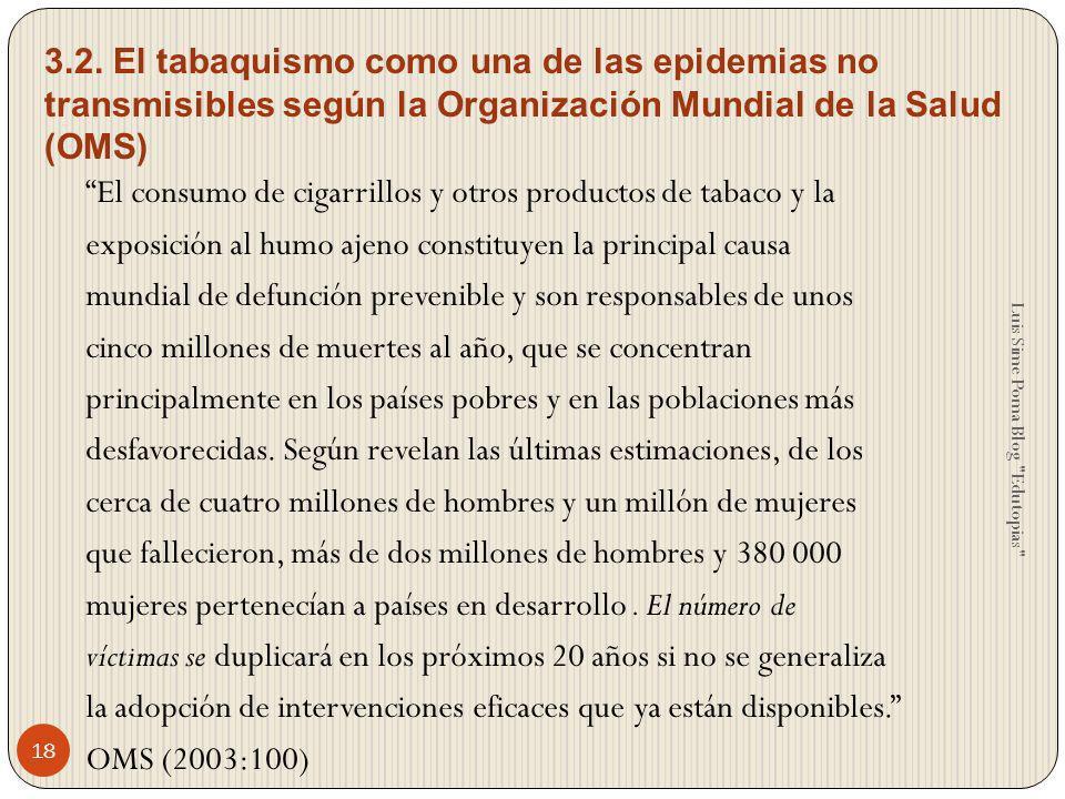 3.2. El tabaquismo como una de las epidemias no transmisibles según la Organización Mundial de la Salud (OMS)