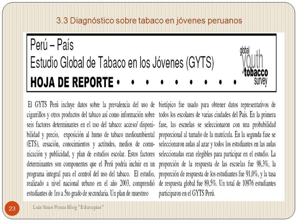 3.3 Diagnóstico sobre tabaco en jóvenes peruanos