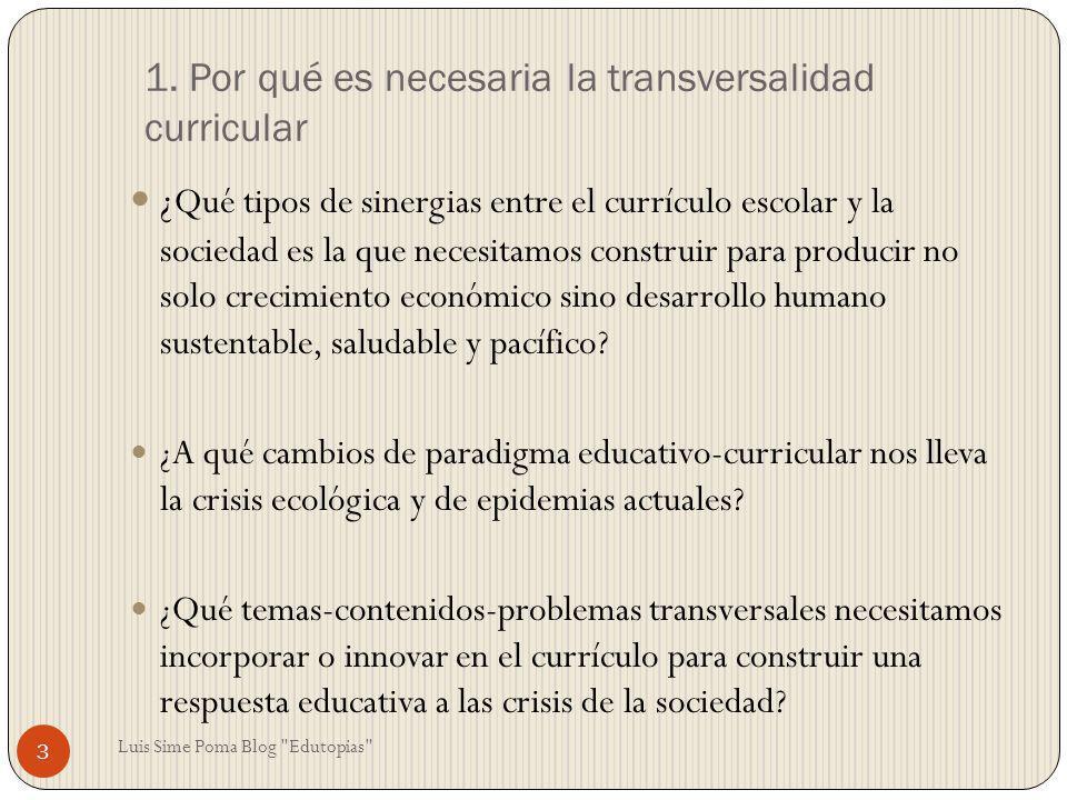 1. Por qué es necesaria la transversalidad curricular