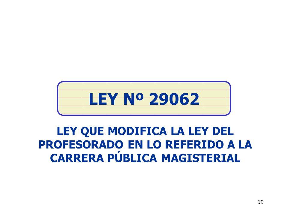 LEY Nº 29062 LEY QUE MODIFICA LA LEY DEL PROFESORADO EN LO REFERIDO A LA CARRERA PÚBLICA MAGISTERIAL.