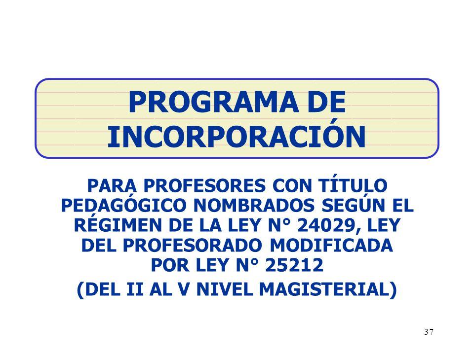 PROGRAMA DE INCORPORACIÓN