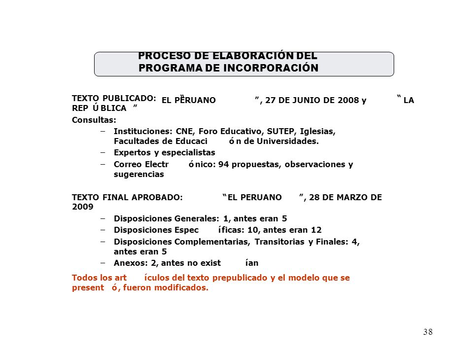 PROCESO DE ELABORACIÓN DEL PROGRAMA DE INCORPORACIÓN