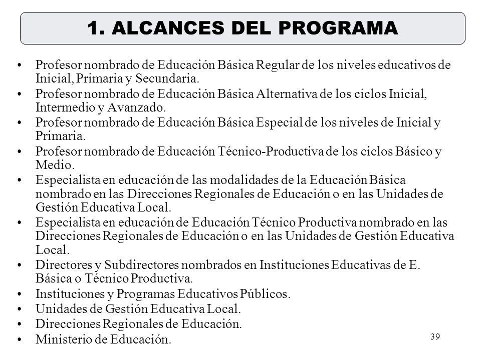 1. ALCANCES DEL PROGRAMA Profesor nombrado de Educación Básica Regular de los niveles educativos de Inicial, Primaria y Secundaria.