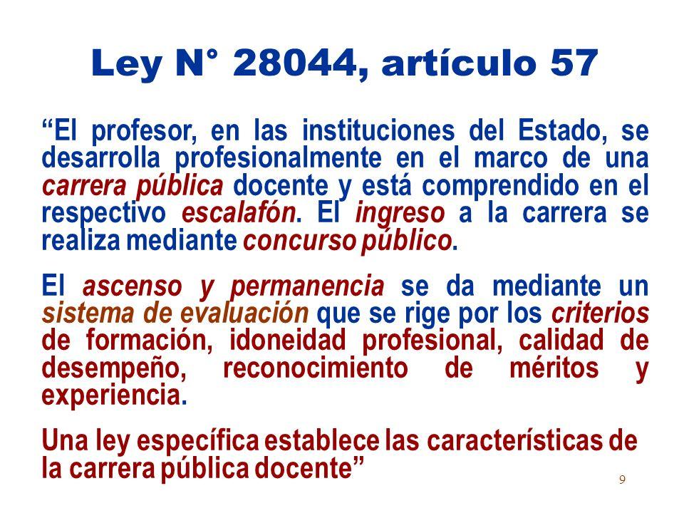 Ley N° 28044, artículo 57