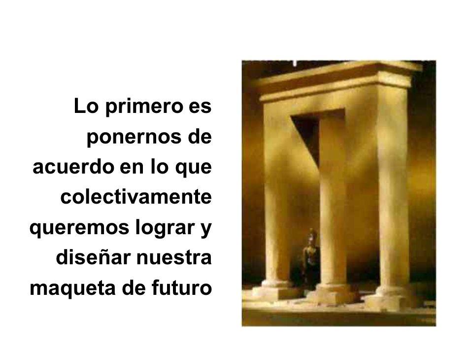 Lo primero es ponernos de acuerdo en lo que colectivamente queremos lograr y diseñar nuestra maqueta de futuro