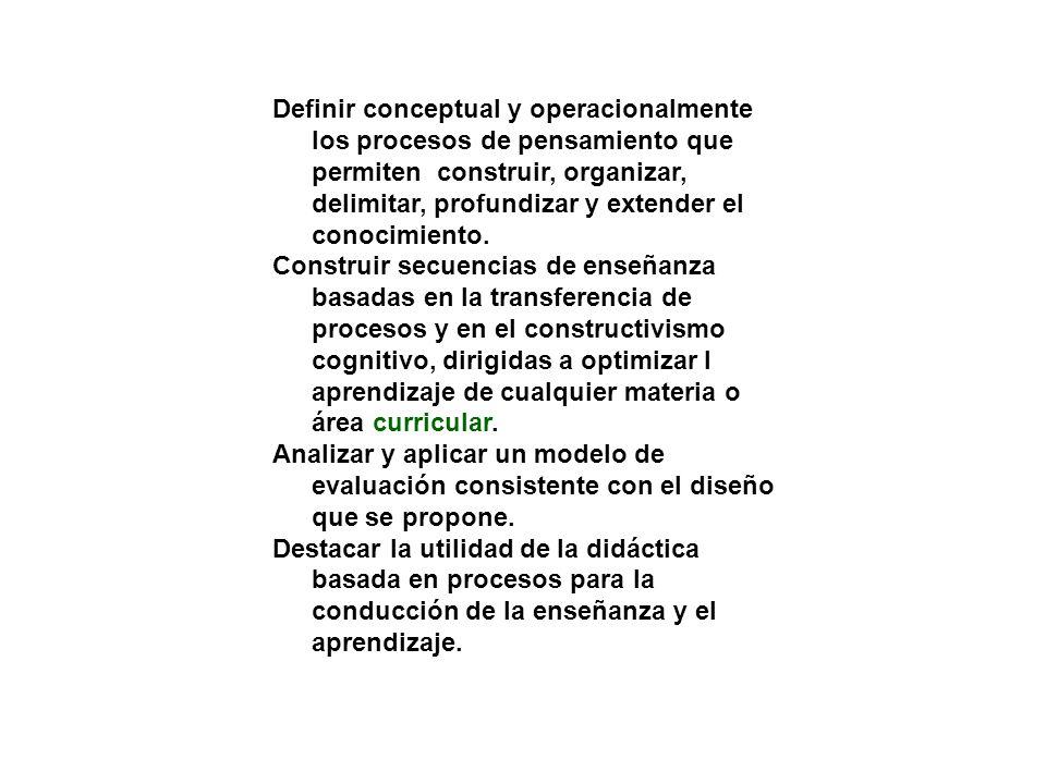 Definir conceptual y operacionalmente los procesos de pensamiento que permiten construir, organizar, delimitar, profundizar y extender el conocimiento.